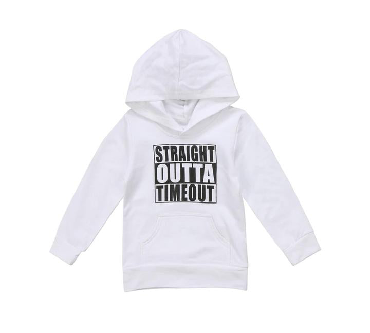 Straight Out Of Timeout Hooded Tee White