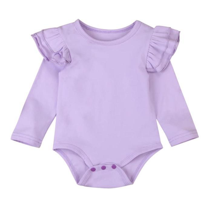 Long Sleeved Flutter Bodysuit-Lilac