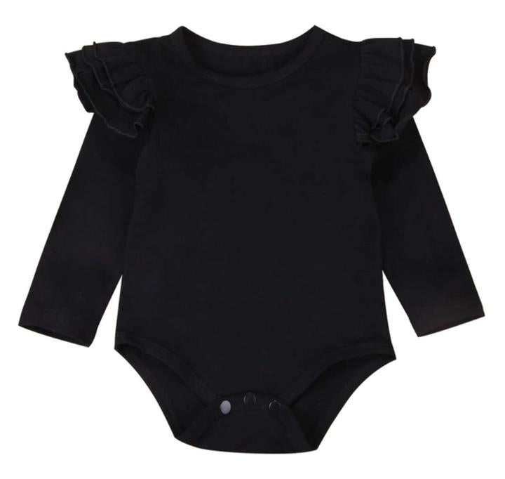 Long Sleeved Flutter Bodysuit-Black