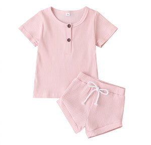 Ribbed Button Tee & Shorties Set - 5 Colours