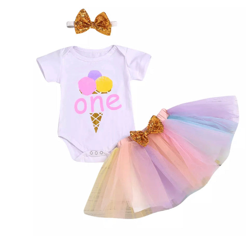1st Birthday Ice Cream Skirt Set