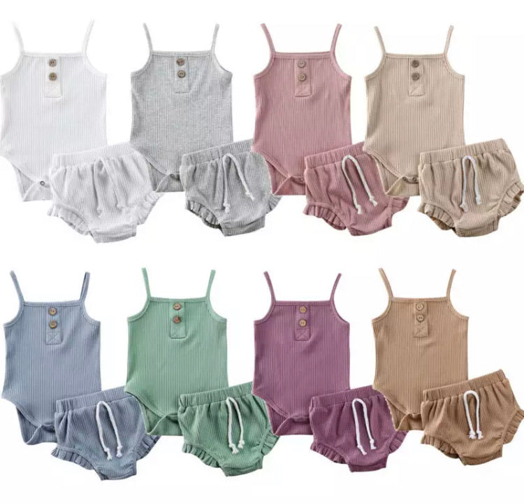 Ribbed Bodysuit & Bloomers Set - 8 Colours
