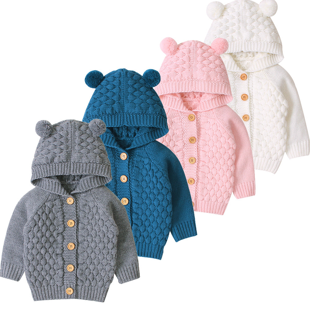Teddy Bear Hooded Cardigan - 4 Colours