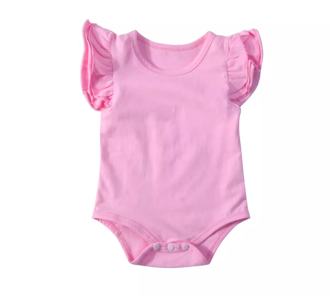 Short Sleeved Flutter Bodysuit - Pink