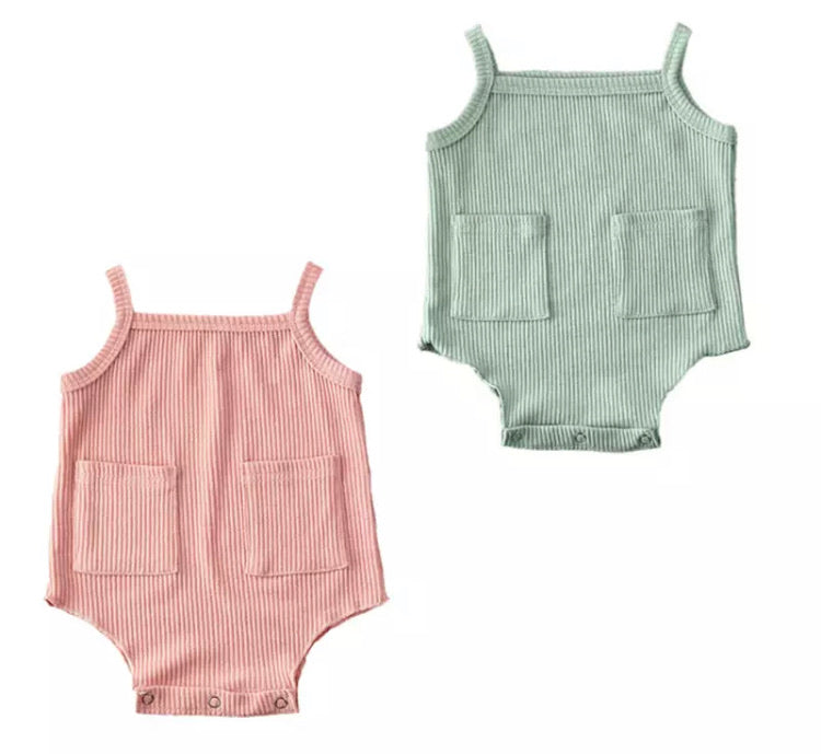Ribbed Pocket Bodysuit - 2 Colours