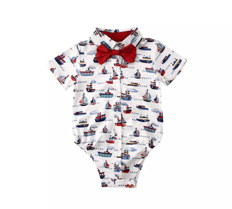 Boats Bow Tie Romper