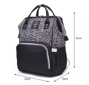 Leopard Print Nappy Bag - Grey