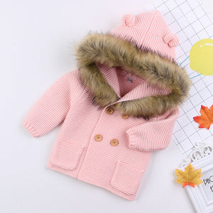 Knitted Jacket With Fur Hood - 5 Colours