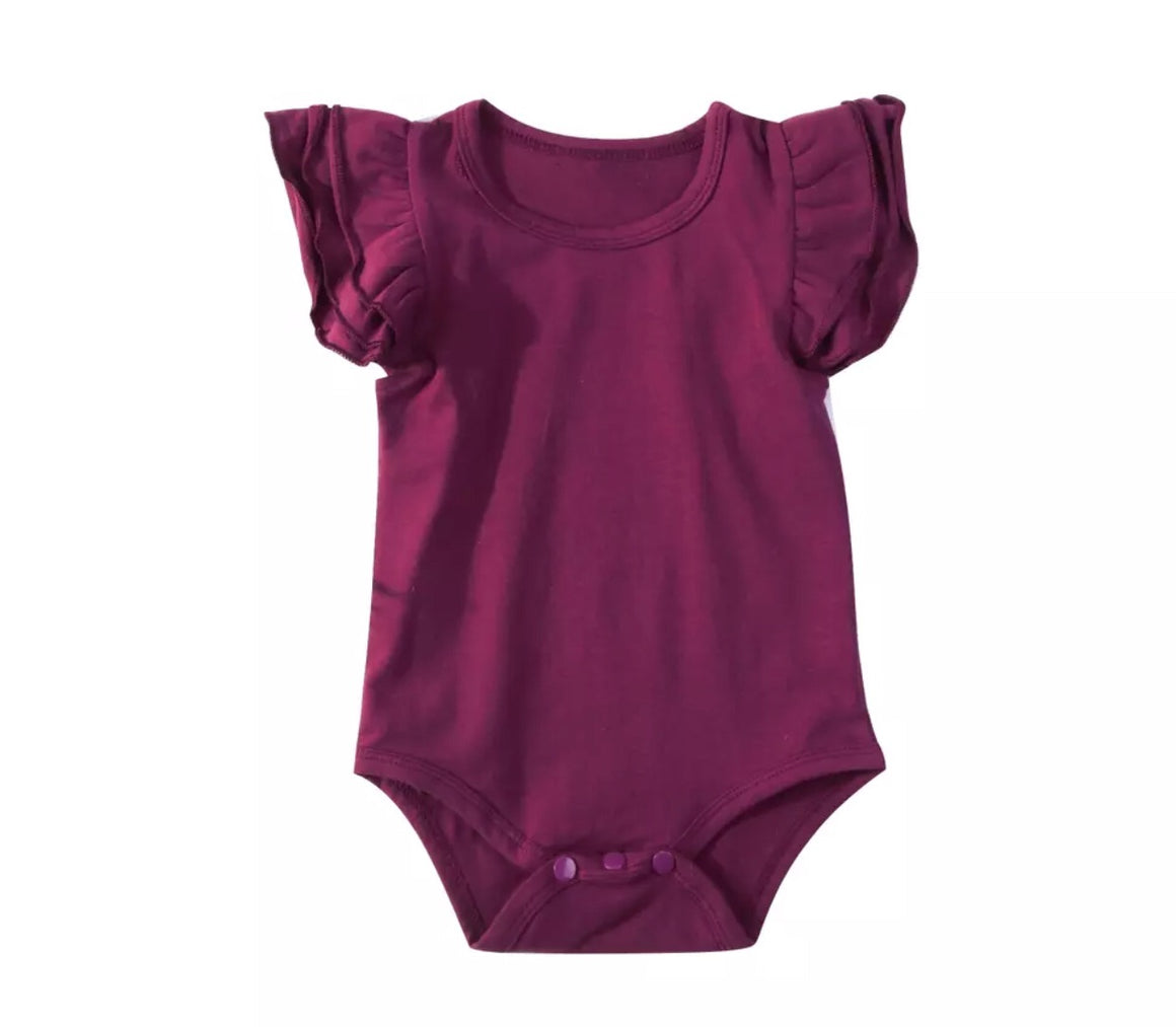 Short Sleeved Flutter Bodysuit - Red Wine