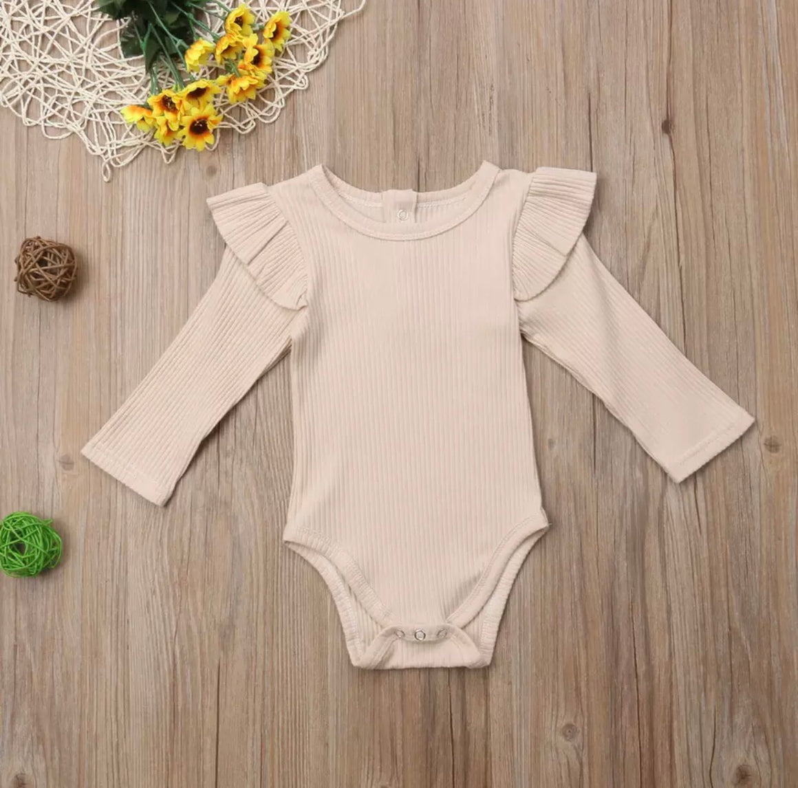 Ribbed Flutter Long Sleeved Bodysuit - Beige