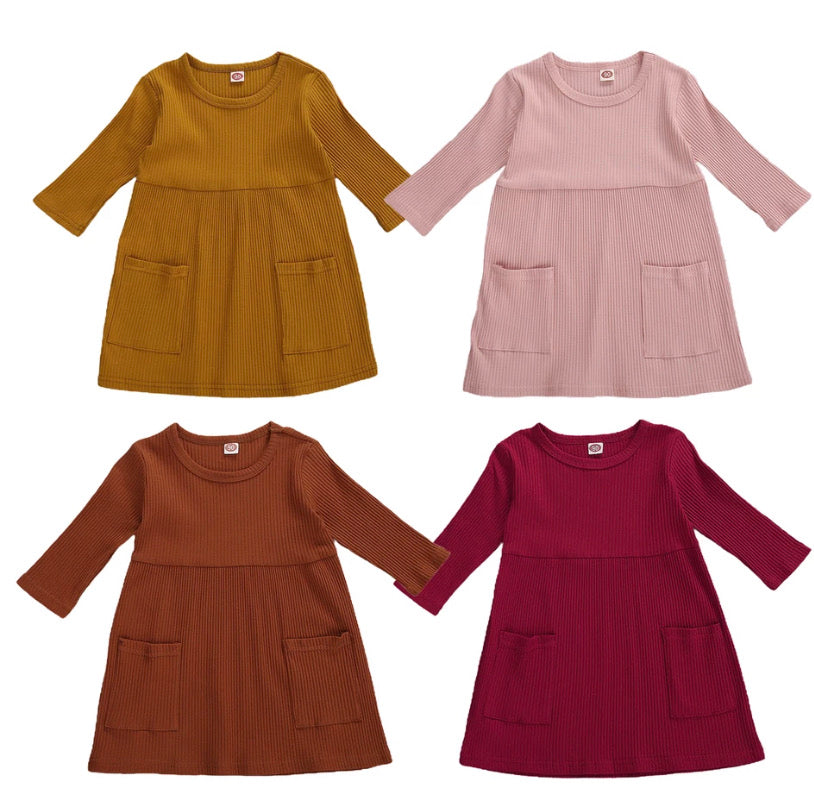 Amber Ribbed Dress - 4 Colours