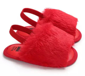 Fluffy Sling Back Slides