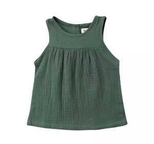 Chloe Sleeveless Loose Top-Green