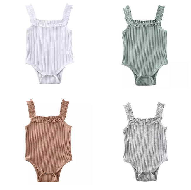 Ribbed Ruffled Bodysuit - 4 Colours