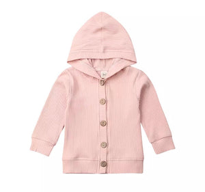 Ribbed Hooded Cardigan - Pink