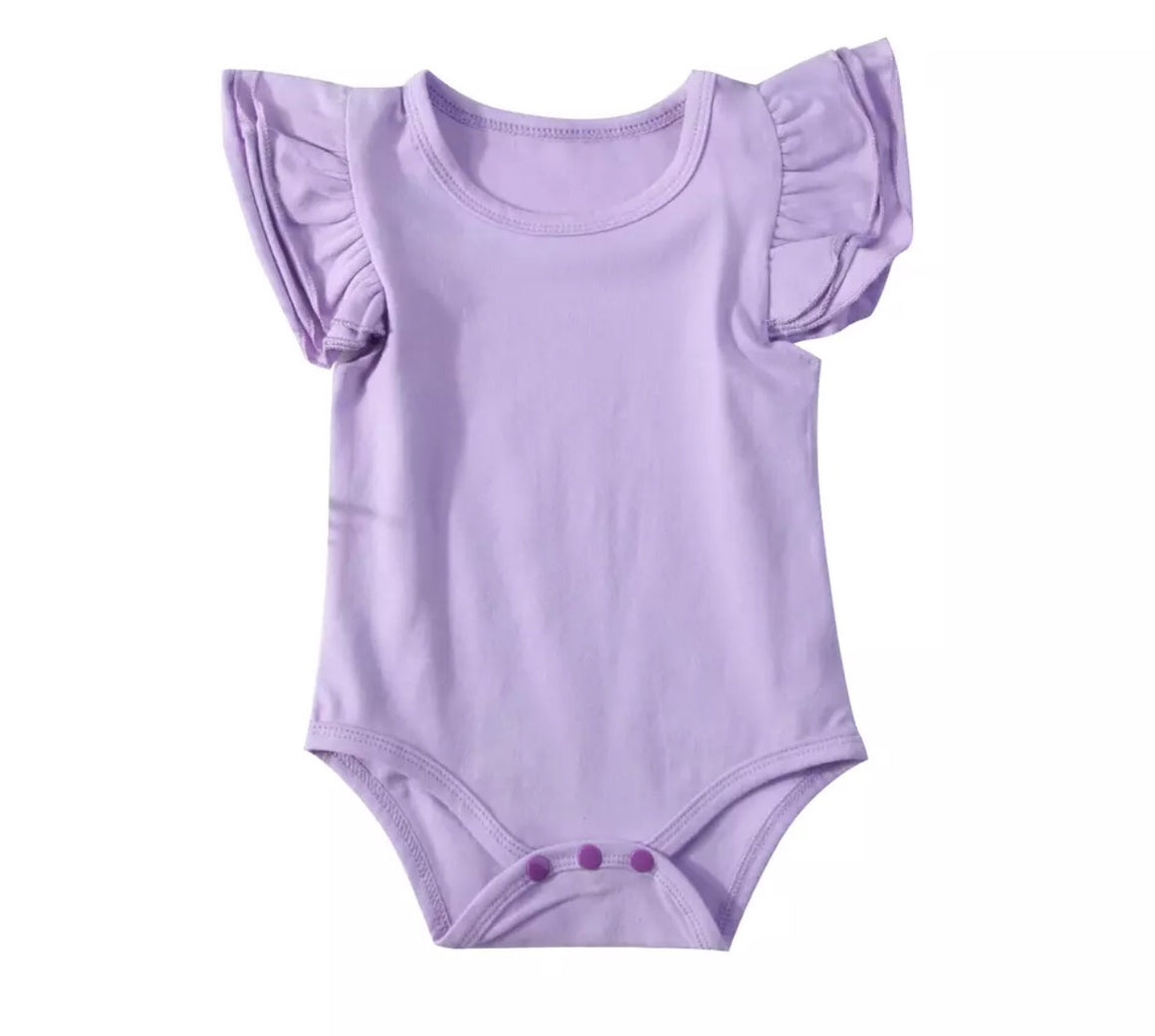 Short Sleeved Flutter Bodysuit - Lilac