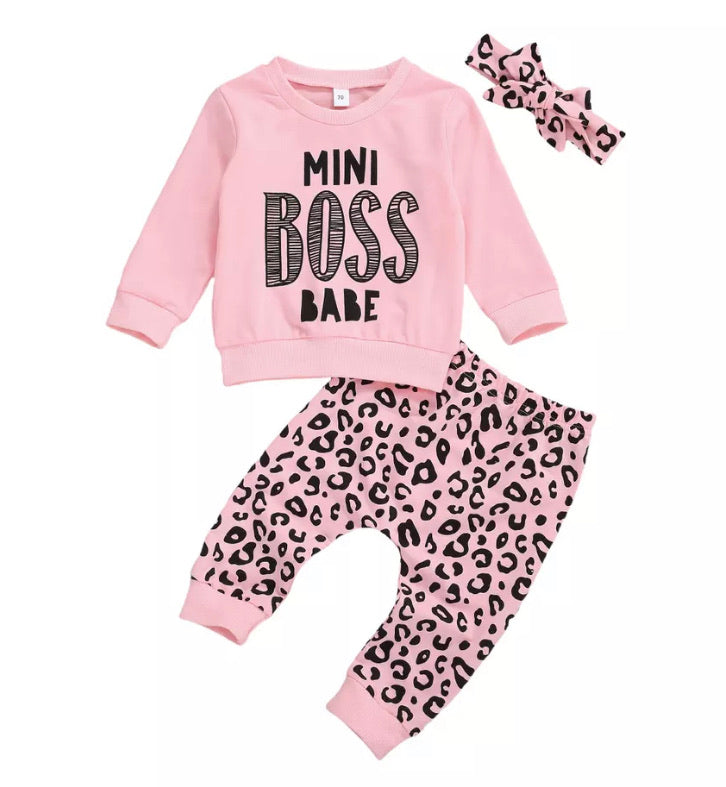 Mini Boss Babe Leopard Print Set