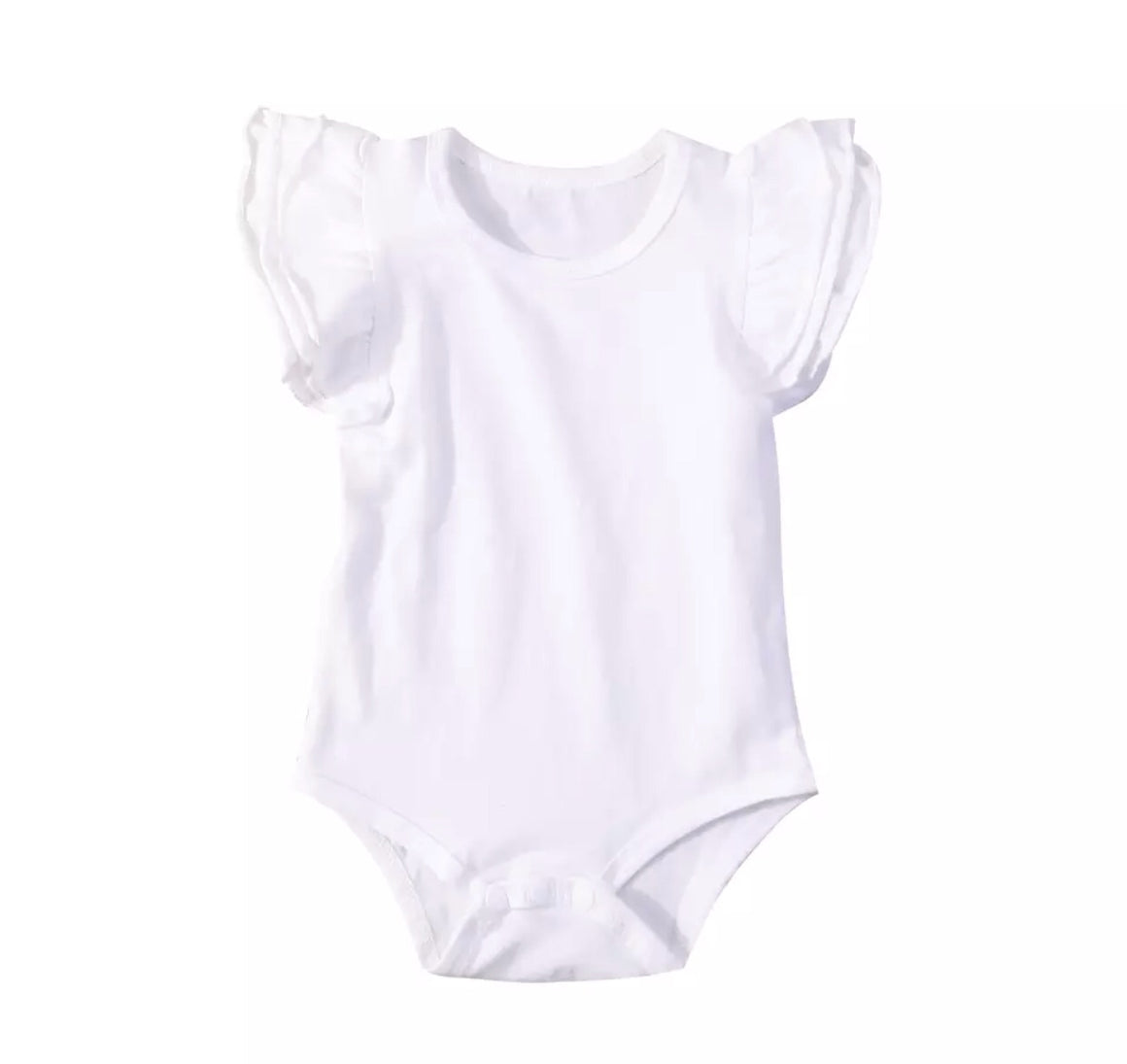 Short Sleeved Flutter Bodysuit - White