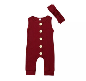 Ribbed Button Sleeveless Onesie - Red Wine