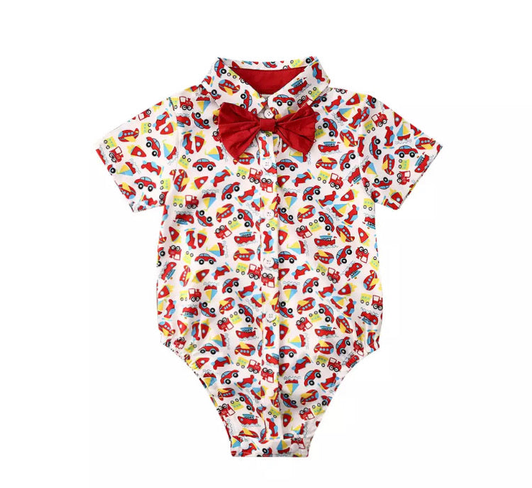 Cars Bow Tie Romper