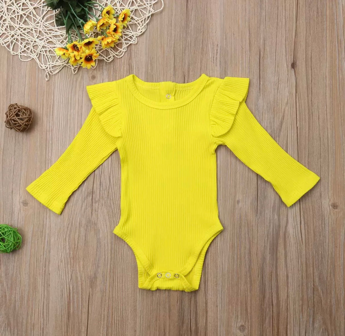 Ribbed Flutter Long Sleeved Bodysuit-Yellow