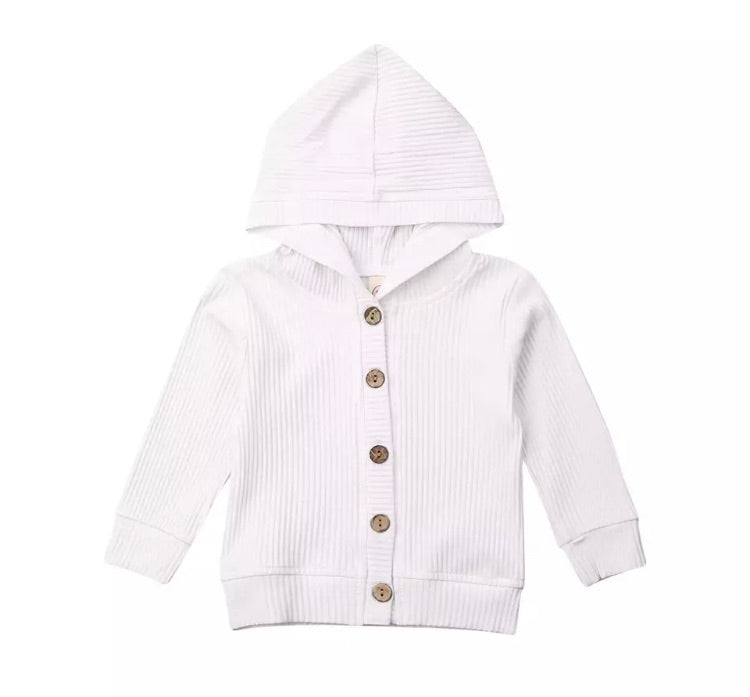 Ribbed Hooded Cardigan - White