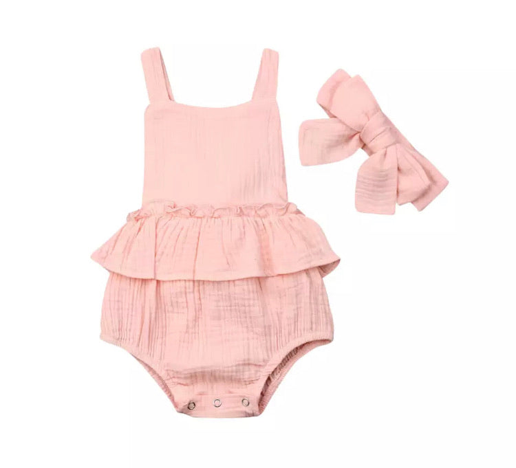 Everly Romper - Coral Pink