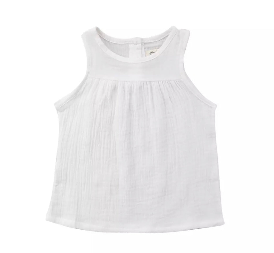 Chloe Sleeveless loose Top-White