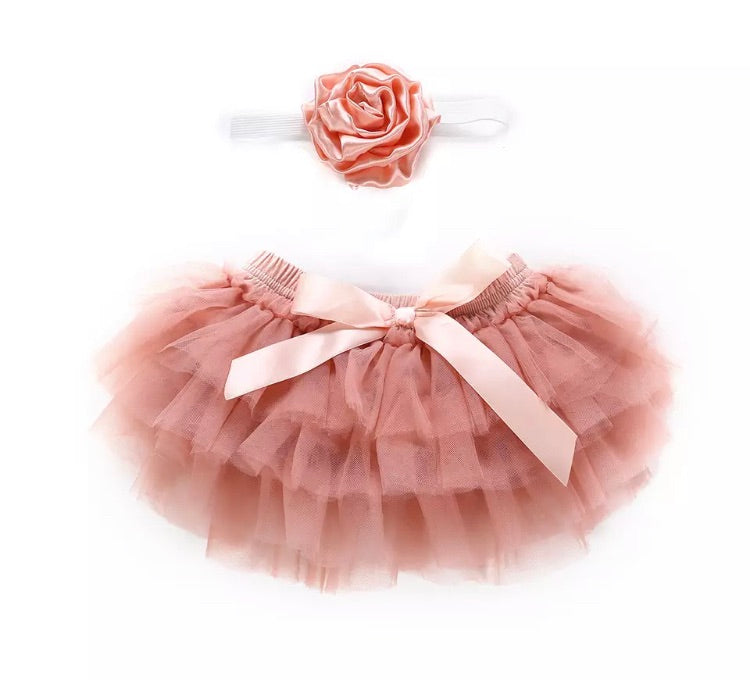 Tulle Bloomer & Headband - Dusty Pink