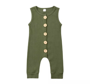 Ribbed Button Sleeveless Onesie - Olive