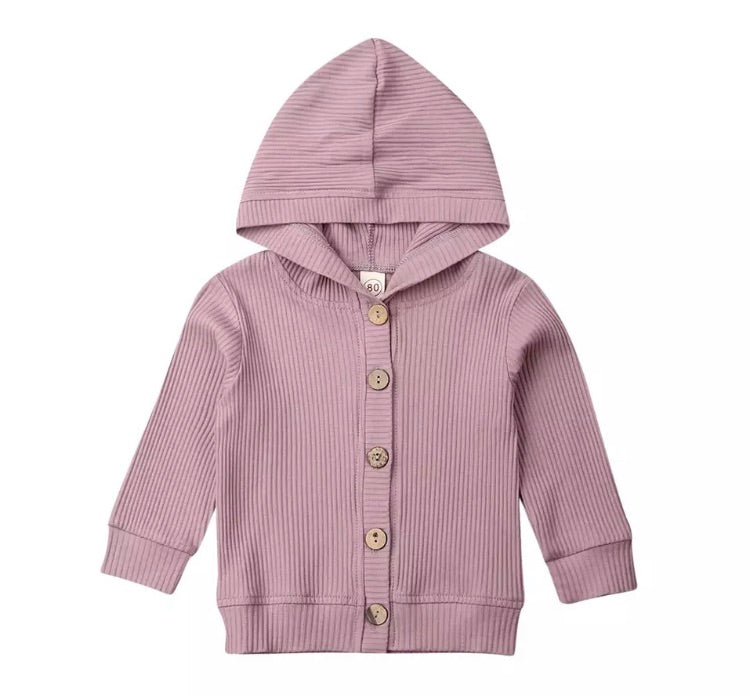 Ribbed Hooded Cardigan - Mauve