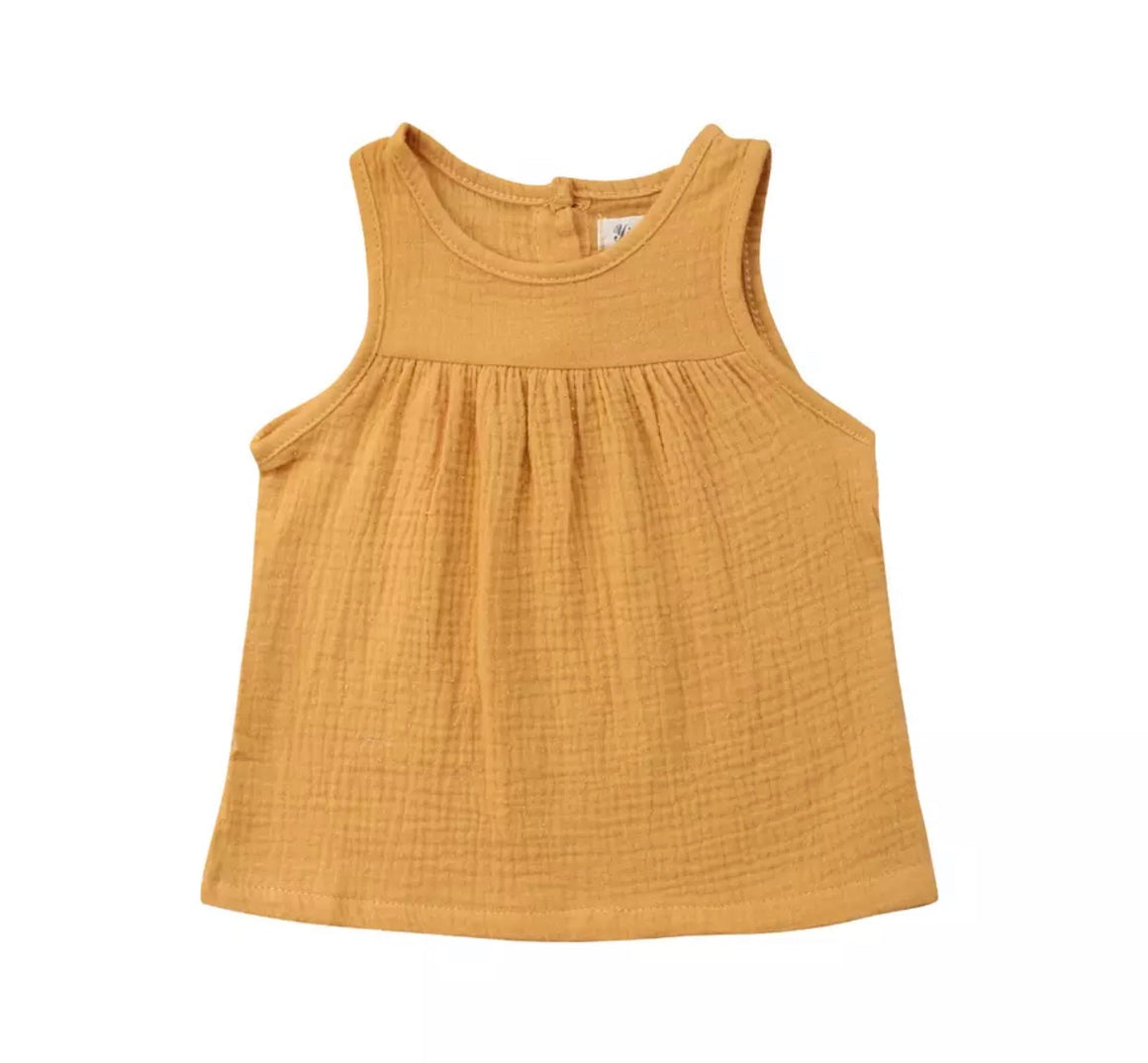 Chloe Sleeveless Loose Top-Mustard