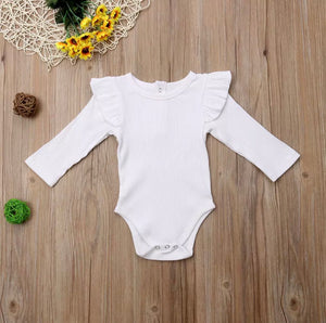 Ribbed Flutter Long Sleeved Bodysuits-White