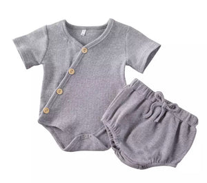 Ribbed Button Basics Bodysuit & Bloomer Set - 4 Colours