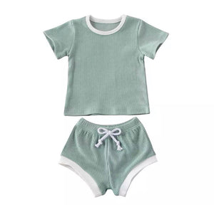 Ribbed Tee & Shorties Set - Mint