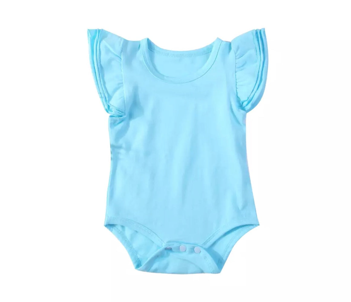 Short Sleeved Flutter Bodysuit - Blue
