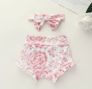 Floral Nappy Cover & Headband