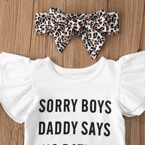 Sorry Boys Daddy Says No Dating Leopard Shorts Set