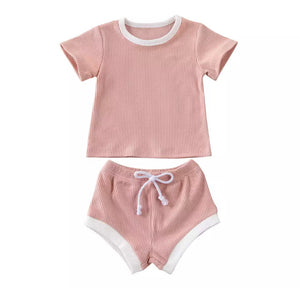 Ribbed Tee & Shorties Set - Pink