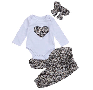 Leopard Heart Romper Set