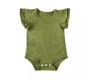 Short Sleeved Flutter Bodysuit - Olive