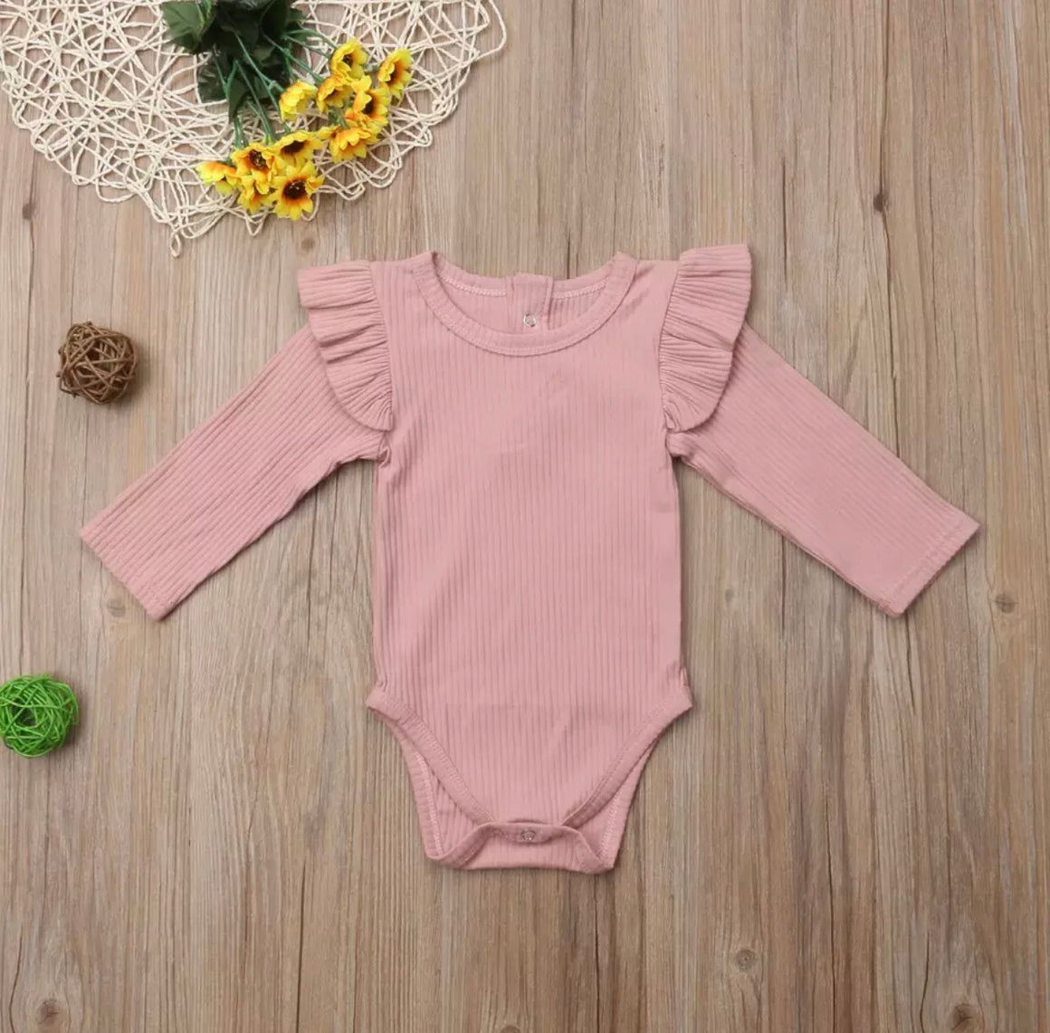 Ribbed Flutter Long Sleeved Bodysuit-Dusty Pink