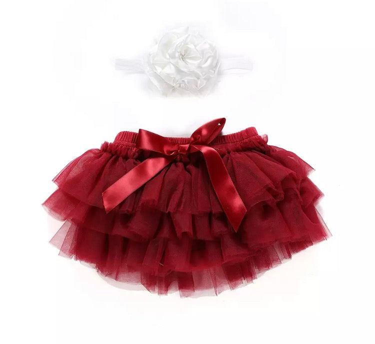 Tulle Bloomer & Headband - Red Wine