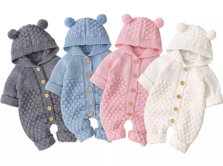 Knitted Teddy Bear Onesie - 4 Colours
