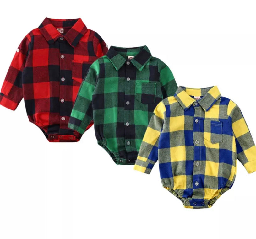 Plaid Long Sleeved Romper   - 3 Colours