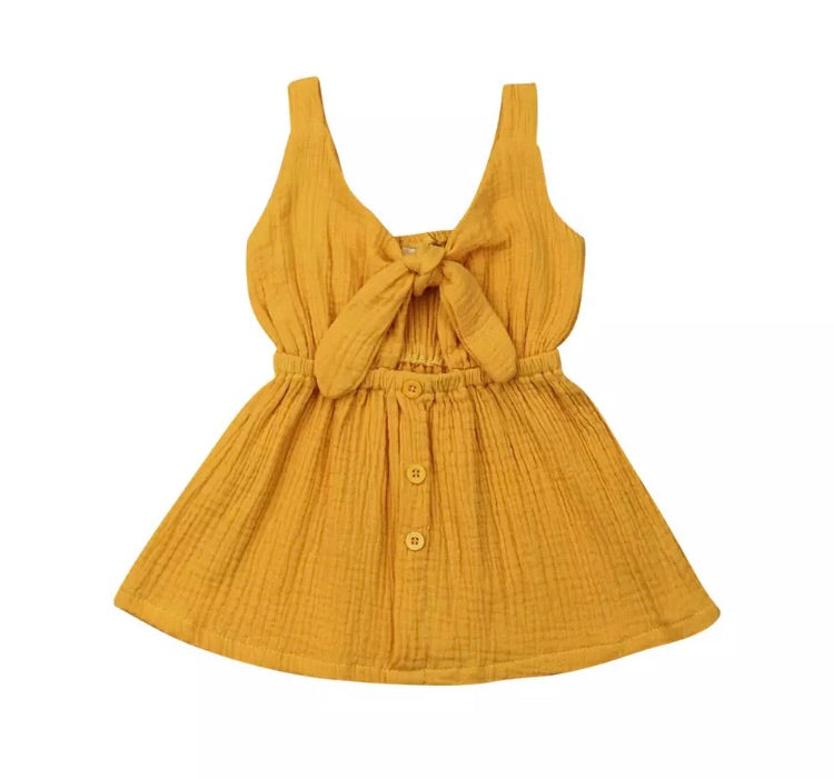 Emerson Bow Dress - Mustard