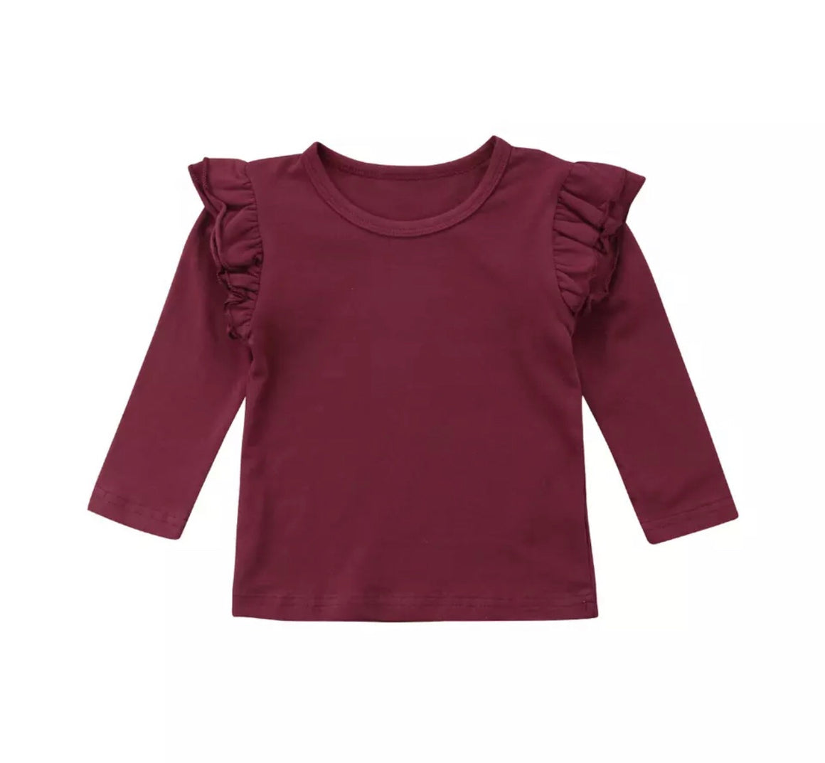 Flutter Top Long Sleeved -Red Wine