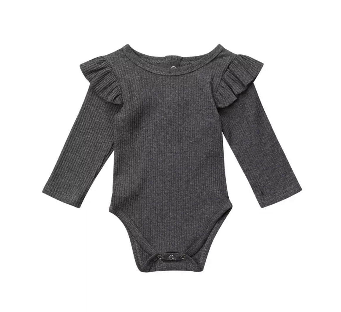 Ribbed Flutter Long Sleeved Bodysuit-Charcoal