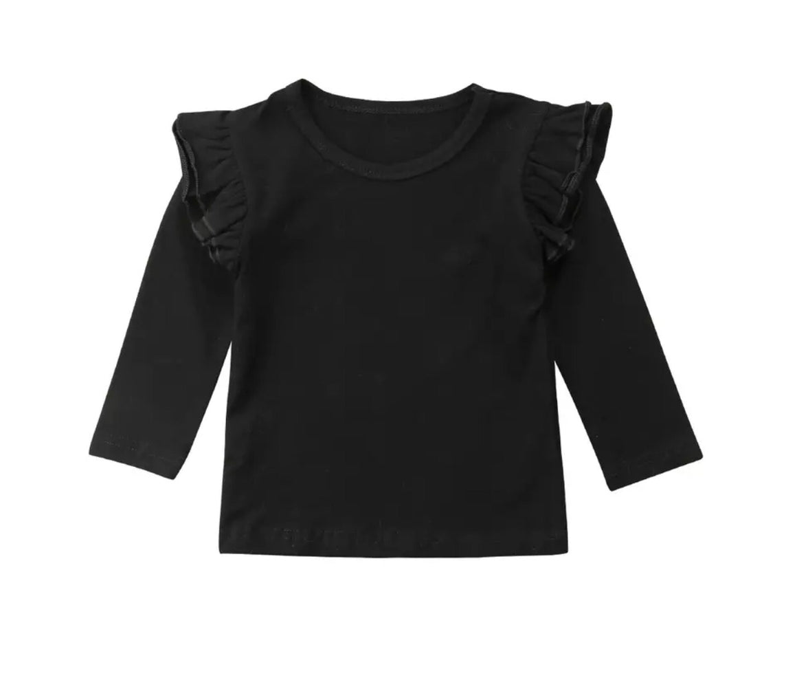 Flutter Top Long Sleeved-Black