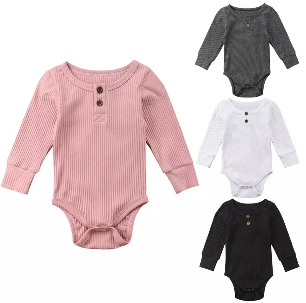 Ribbed Button Long Sleeved Bodysuits